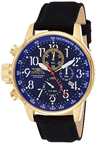 Invicta Men's I Force Gold Tone Stainless Steel Quartz Watch with Canvas Strap, Black (Model: 1516)