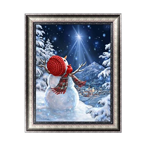 (Feamos 5D Diamond Painting Embroidery Kit Christmas Snowman with Snow View Cross Stitch Craft for DIY Home Wall Decoration Gift)