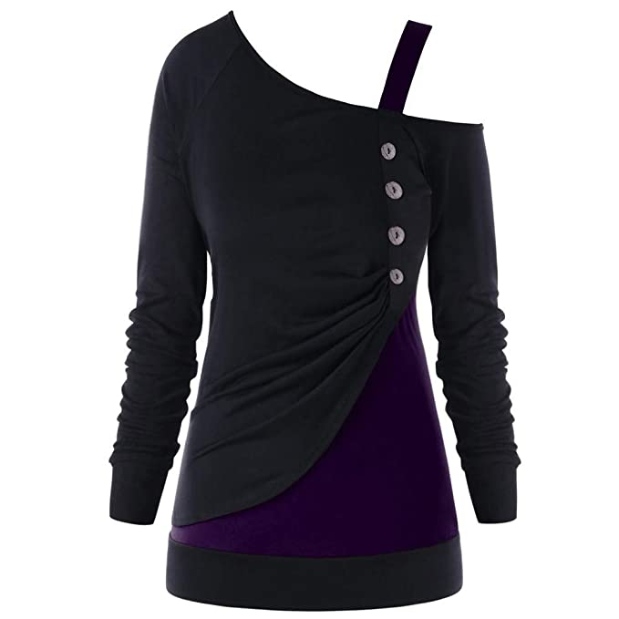Rovinci_Women Tops Blusas de Las Mujeres Camisa Remiendo de la Manera Botón Cuello Oblicuo Bloque de Color de un Hombro Camiseta Plus Tamaño¡Gran promoción!