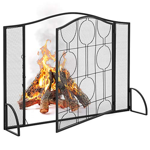 (Best Choice Products Single-Panel Living Room Heavy-Duty Steel Mesh Fireplace Screen Decor w/Locking Door - Black)