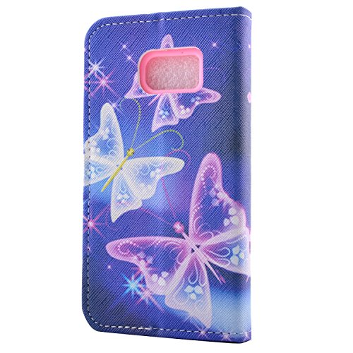 Funda para Galaxy S7 Edge, Galaxy S7 Edge Funda de PU cuero resistente, Galaxy S7 Edge Ultra Slim PU Cuero Folding Stand Flip Funda Carcasa Caso,Galaxy S7 Edge Leather Case Wallet Protector Card Holde Diamant-étoile papillon