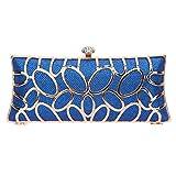 Fawziya O-shape Metal Baguette Style Ladies Clutch Bag Evening Party Bag - Blue