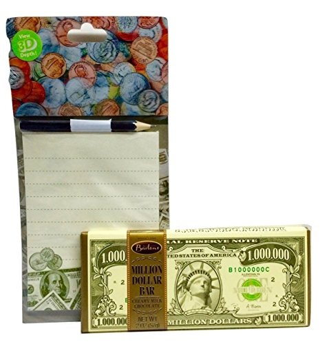 Money-themed Unique, Fun Recognition Gift! Valentine's Day, Easter, Teacher Appreciation. Million Dollar ($1,000,000) Milk Chocolate Bar and Magnetic 3D Holographic Notepad with Pencil!! 2-pc (Chocolate For A Dollar)