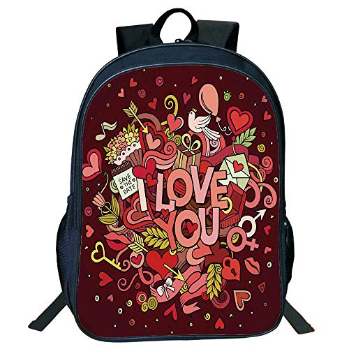 Suitable Primary School Students Black Double-Deck Rucksack,Romantic,Retro Funky