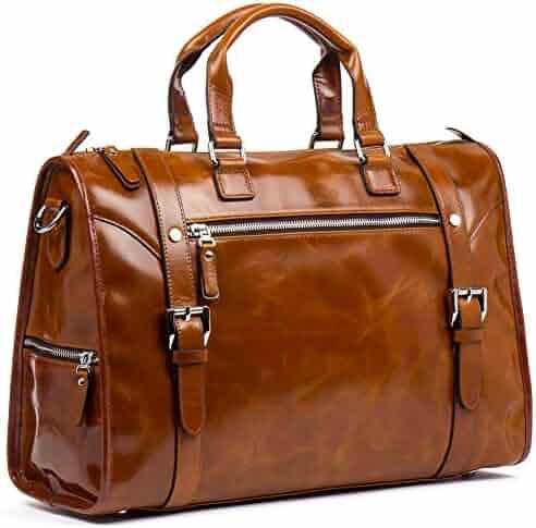 MANTOBRUCE Leather Briefcase for Men Women Travel Work Messenger Bags Laptop Handbag Duffel Bag 15