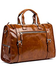 MANTOBRUCE Leather Briefcase for Men Women Travel Work Laptop Shoulder Handbag