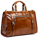 MANTOBRUCE Leather Briefcase Weekender Overnight Duffel Bag Gym Sports Luggage Bags for Men Women
