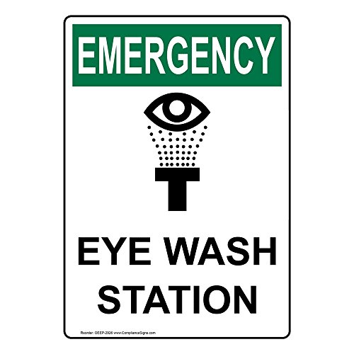 ComplianceSigns Vertical Vinyl OSHA EMERGENCY Eye Wash Station Labels, 5 x 3.50 in. with English Text and Symbols, White, pack of 4
