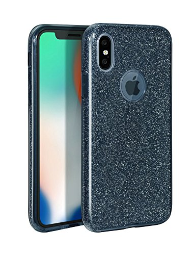(iPhone X Case Shiny Non-slip Protective Cover Glitter 3 Layers Shockproof Hard PC/TPU with iPhone X Tempered Glass Screen Protector for Apple iPhone X(BLACK))