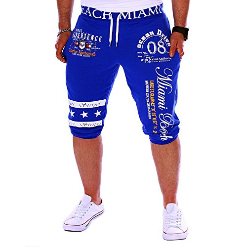 (Toimothcn Men's Casual 3/4 Joggers Pants Slim Fit Training Workout Gym Shorts with Pocket (Blue,2XL))