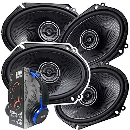 2 Pairs of Kenwood 6x8 360W 2-Way Coaxial Car Audio Speakers | (4 Speakers) + Free EMB Premium Headphone (Kenwood For Ford Speakers)