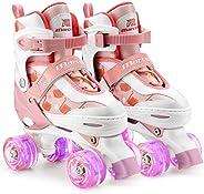 Marcent Roller Skates for Girls Boys Beginners, Kids Adjustable Roller Skating with All Light up Wheels, Indoo