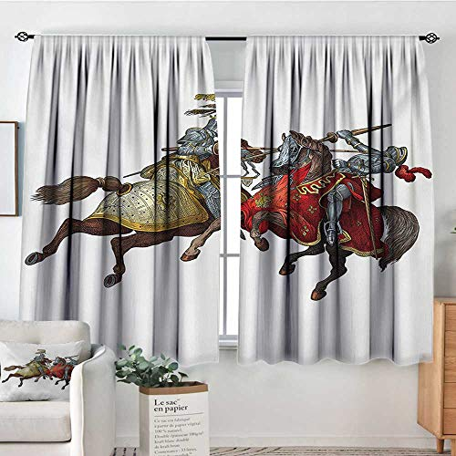 Elliot Dorothy Blackout Curtains Medieval,Middle Age Fighters Knights with Ancient Costume Renaissance Period Illustration,Multicolor,for Room Darkening Panels for Living Room, Bedroom 42