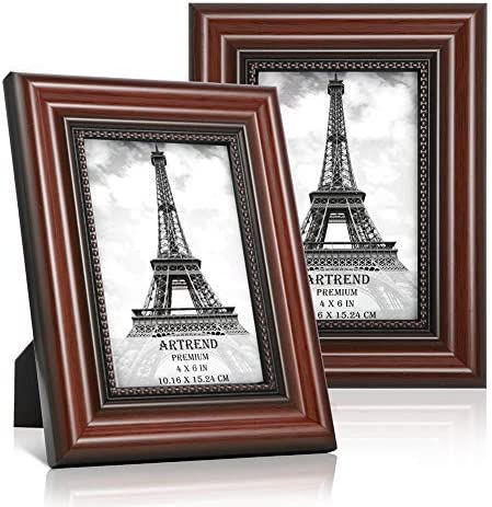 Artrend 4x6 Picture Frames With Real Glass Front 2 Pack Photo Frames For Wall Or Tabletop Display Cherry Wood Grain