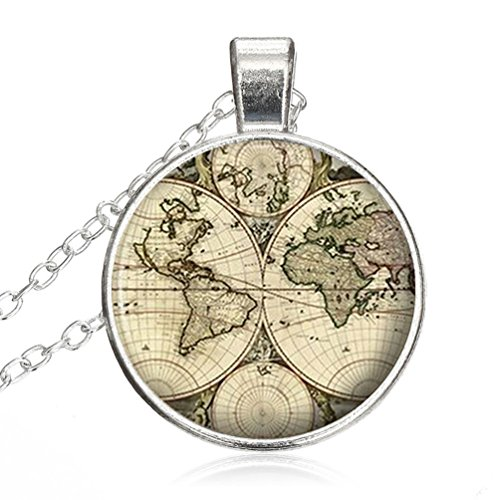 (Crystal Necklace World Map Old Antique Atlas Picture Vintage jewelry pendant Silver Charm by Pretty Lee)