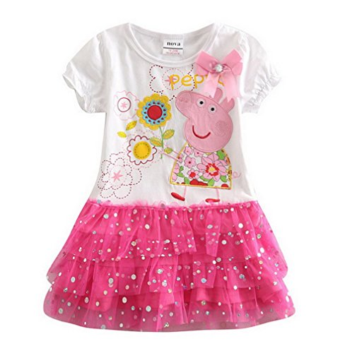 peppa pig clothing Little Girls' Spring Summer Fall Short-Sleeve Cartoon Pure-Color Alphabet Natural Cotton Gauze Dresses,White,3T(2-3Y)
