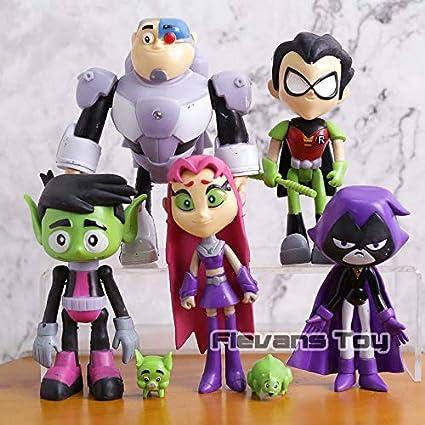 7pcs Teen Titans Go Figurine Robin Cyborg Beast Boy Raven Starfire Figurine FR