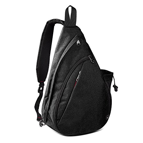 OutdoorMaster Sling Bag - Crossbody Backpack for Women & Men (Black) ()