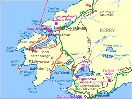wanderwege irland karte Ordnance Survey Ireland Blatt 83, Kerry, Caherciveen, Waterville