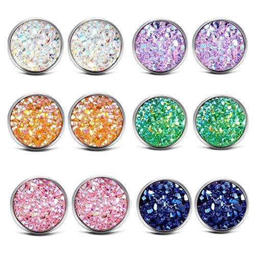 (ATIMIGO Stainless Steel Druzy Stud Earrings Set for Girls Women Hypoallergenic Pierced Earrings (6 pairs))