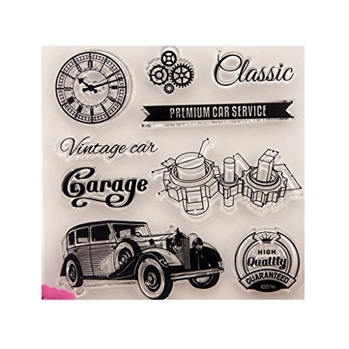 (❤JaneMo New Arriving Clear Stamps Vintage Car and Accessories Transparent Silicone Clear Rubber Stamp Cling Diary Scrapbooking DIY Art Craft Decoration)