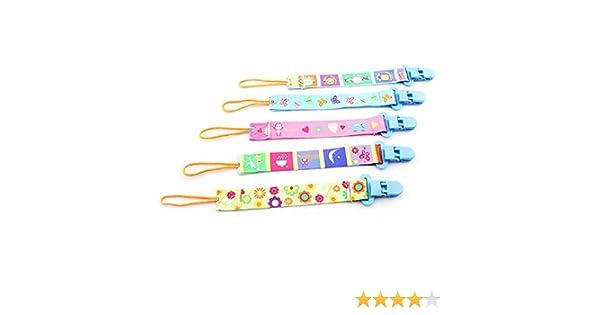 Baby Chupete banda, isuper 5 Pack Chupete Cadenas con clip para bebé niño y niña Chupete de cinta de plástico, beidseitger Impresión
