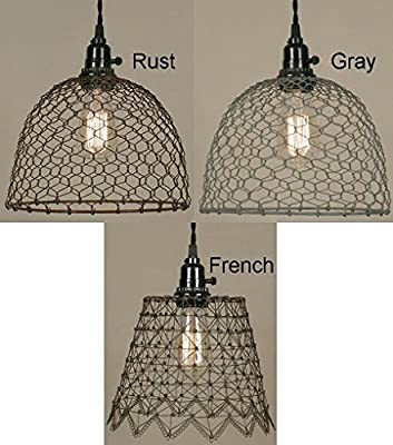 Chicken Wire Swag Lamp Pendant Light Vintage Rustic Industrial Primitive Farm