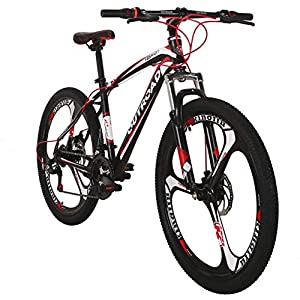 PanAme 26 Inch Mountain Bike,High Carbon Steel Frame Bike with 21 Speed Shimano Shifter and Double Disc Brake, Front Suspension Anti-Slip Bicycle for Adult, Multiple Colors