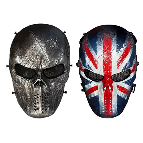 AIMAKE Airsoft Mask Full Face For Airsoft/BB Gun/ CS Game and Party (Black&knight) (Bb Halloween Party 2017)