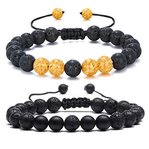 MengPa Mens Women 8mm Lava Stone Rock Bracelet Aromatherapy Anxiety Essential Oil Diffuser Yoga Bangle (2Pcs-Matte&Yellow) - Anniversary Bracelet Yellow