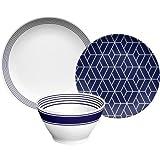 Better Homes and Gardens Geo Design 12pc Dinnerware Set Navy