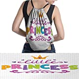 "warmfamily Waterproof Backpack Little Princess Lettering Polka Dot Back 11.8""x15.3"""