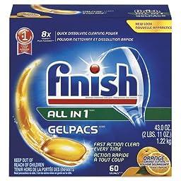 Finish All in 1 Dish Detergent Gel Packs, Orange, 60/Box (1 Box) - BMC- RAC81181