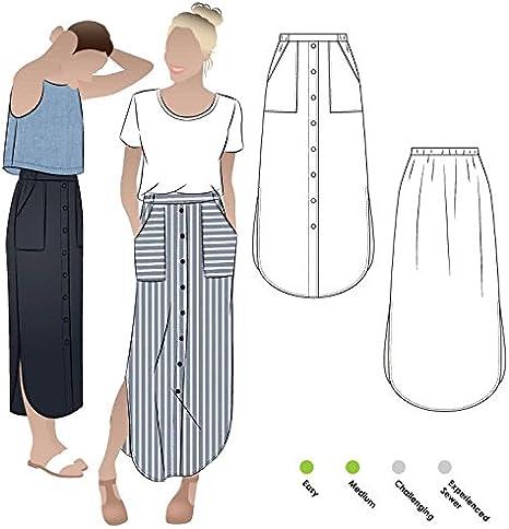 Estilo Arc – patrón de costura para – Indigo Maxi falda: Amazon.es ...