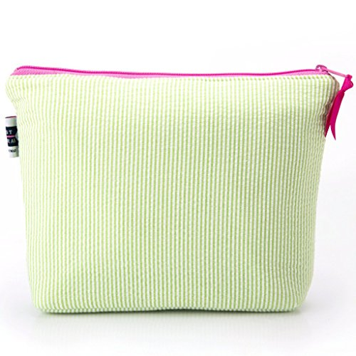Seersucker Cosmetic Bag- Lime Green