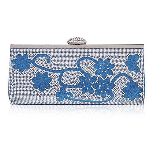 Damara Chic Brillante Damas Bolso De BandoleraCon Hebilla De Cristal Para Mujer,Blanco Azul