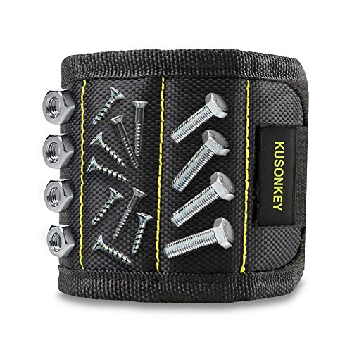 Magnetic Wristband, Kusonkey Tool Belt with 15 Powerful Magnets for Holding Screws/Nails/Drill Bits, Versatile Christmas Tool Gift for Men/Father/Dad/DIY Handyman/Electrician/Husband/Boyfriend. (Get My Things Christmas For Dad To)