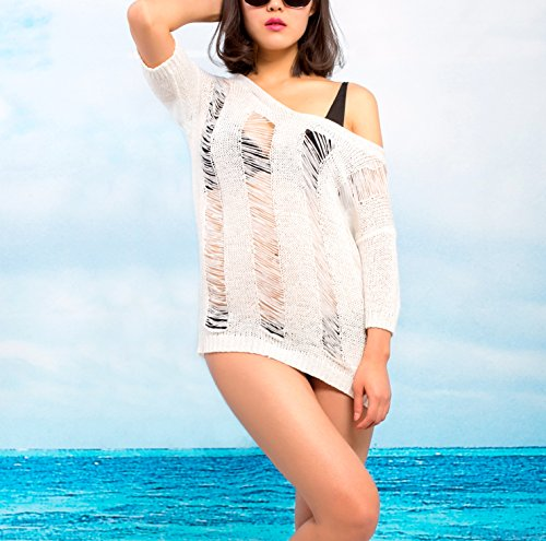 e140d01eae MG Collection White Openwork Knit Beach Dress   Beachwear Swimsuit Cover Up  - Buy Online in Oman.