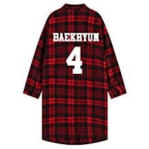 Kpop EXO Luhan Shirt Chan Yeol Unisex Red Plaid Long Sleeve Blouse