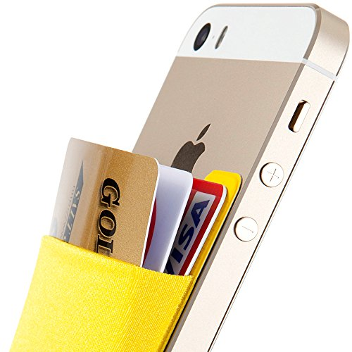 SINJIMORU Card Holder for Back of Phone, Stick on Wallet Functioning as Credit Card Holder, Phone Wallet and iPhone Card Holder/Card Wallet for Cell Phone. Sinji Pouch Basic 2, Yellow.