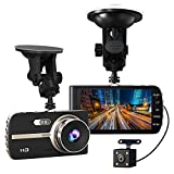 Super HD 1080P Front + VGA Rear 290° Super Wide Angle Car Dash Cam with 4'' Large HD Screen, G-Sensor, Loop Recording, Parking Mode, Super Night Version etc.