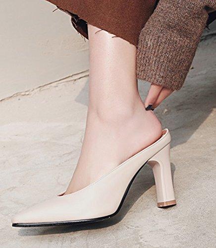 Sandali A Punta Chiusa A Punta Donna Aisun - Elegante Tacco A Spillo Sul Tacco Alto - Uniche Scarpe Robuste Beige