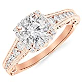 2.75 Carat 14K Rose Gold Vintage Halo Style Channel Set Round Brilliant Diamond Engagement Ring Milgrain with a 2 Carat Moissanite Center