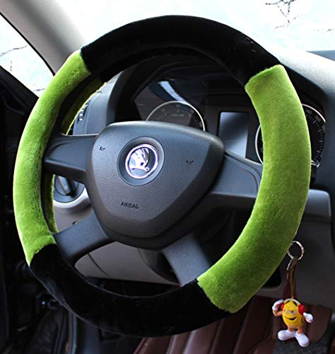 Mayco Bell Winter Plush Fur Car Steering Wheel Cover Cute for 95% Car Styling,38cm Green