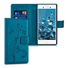 kwmobile Chic synthetic leather case for the Sony Xperia M4 Aqua with convenient stand function - Design Butterfly tendril in dark blue