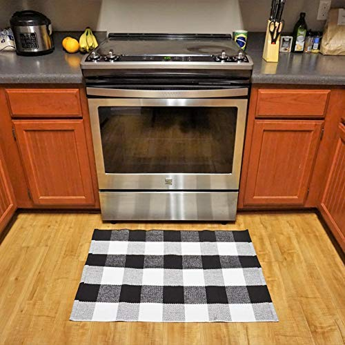 Cotton Buffalo Plaid Rugs Black and White Checkered Rug Welcome Door Mat Rug for Kitchen Carpet Bathroom Outdoor Porch Laundry Living Room Braided Throw Mat Washable Woven Buffalo Check Checkmate 23.6x35.4
