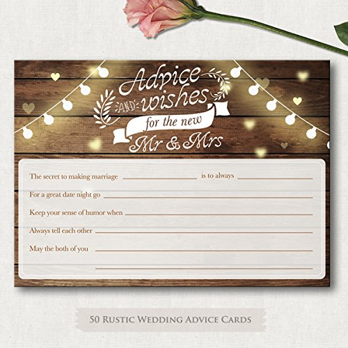 50 4x6 Rustic Wedding Advice & Well Wishes For The Bride and Groom Cards, Reception Wishing Guest Book Alternative, Bridal Shower Games Card Marriage Advice Bride To BeFor Mr & Mrs