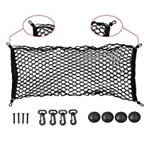 Ideapro Car Rear Cargo Net Multipurpose Elastic Bungee Envelope Style Trunk Luggage Cargo Storage Network Organizer Net Auto Interior Storage Mesh with Mounting Screw (35 *12)