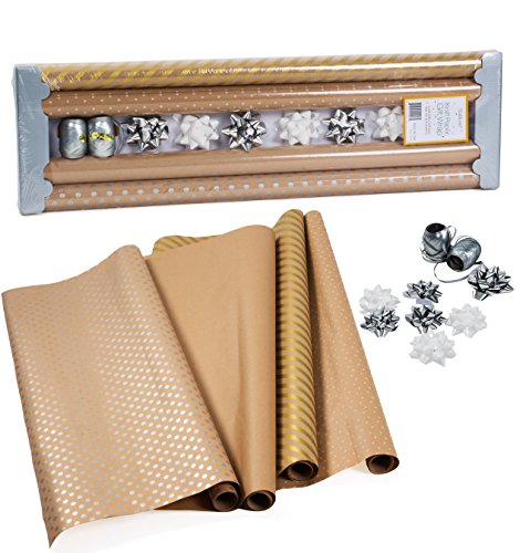 Kraft Wrapping Paper with Polka Dots and Patterns – All Occasion Gift Wrap – Gold Kraft Wrapping Paper - Premium Gift Wrap, 4 Rolls - 2.5 ft x 10 ft per Roll, Includes 7 Bows, 2 Rolls of Ribbon (Paper Gift Kraft Wrap)