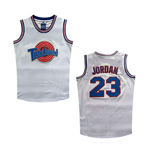 Datoudiedi Space Jam Tune Squad 23# White Mesh Movie Jersey for Kids/Youth (XL)